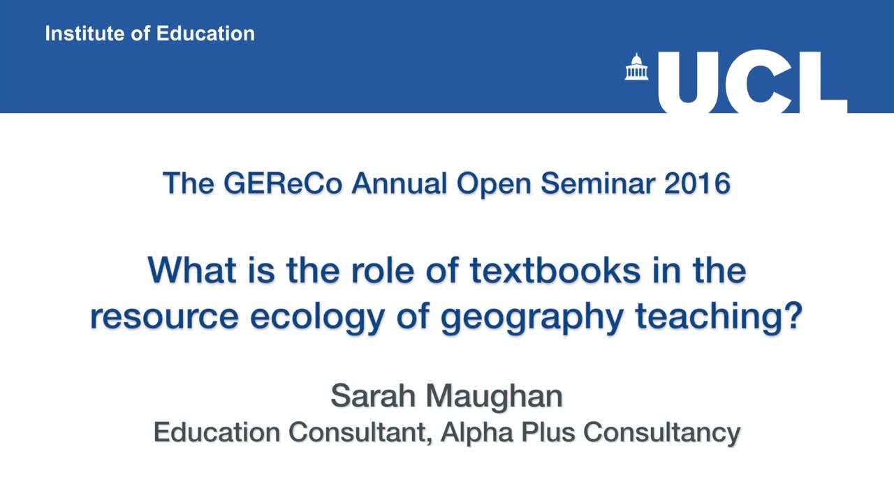 What is the role of textbooks in the resource ecology of geography teaching?