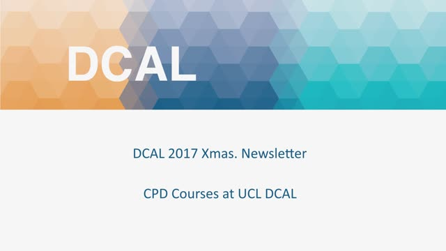 2017 DCAL Xmas Newsletter - Robert Adam - CPD Courses