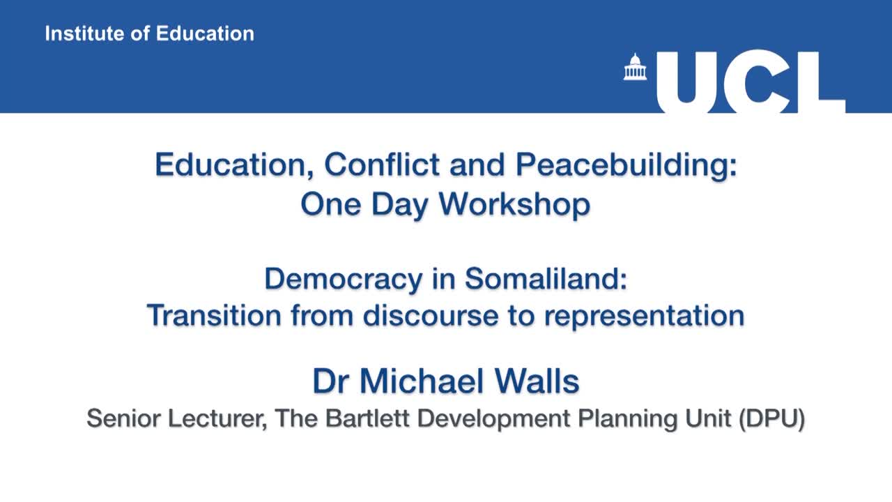 Education, Peace and Development in Somali Society: One Day Workshop - Part 2